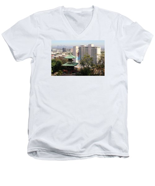 Hollywood View From Japanese Gardens Men's V-Neck T-Shirt by Cheryl Del Toro