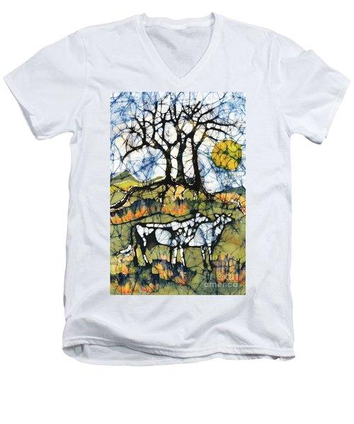 Holsiein Cows Below Autumn Trees Men's V-Neck T-Shirt