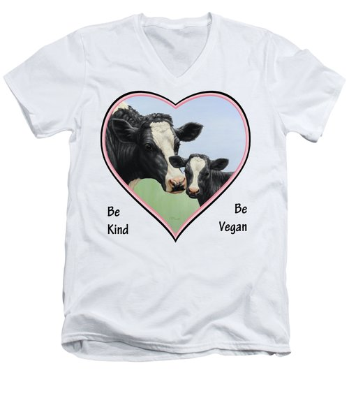 Holstein Cow And Calf Pink Heart Vegan Men's V-Neck T-Shirt