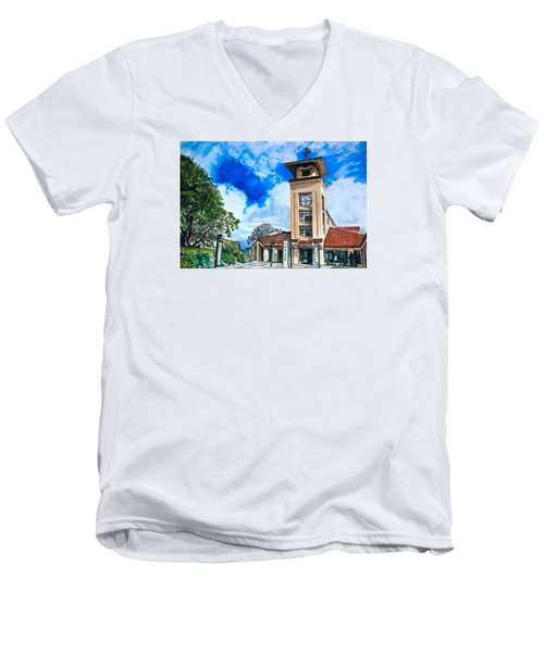 Men's V-Neck T-Shirt featuring the painting Holy Trinity by Lance Gebhardt