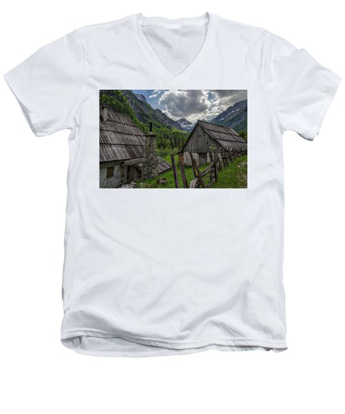 Men's V-Neck T-Shirt featuring the photograph Home In The Slovenian Alps #2 by Stuart Litoff