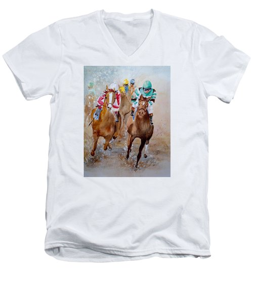 Men's V-Neck T-Shirt featuring the painting Home Stretch by Marilyn Zalatan