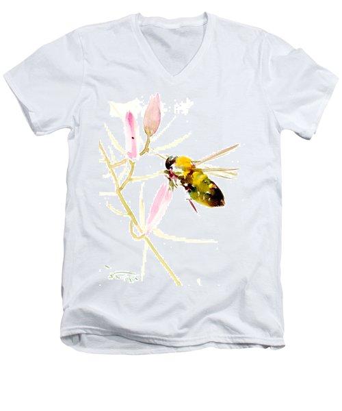 Honey Bee And Pink Flower Men's V-Neck T-Shirt