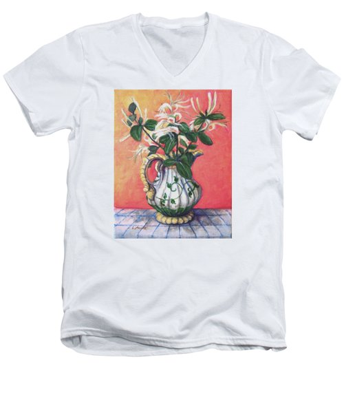 Men's V-Neck T-Shirt featuring the painting Honeysuckle by Laura Aceto