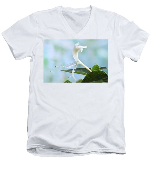 Men's V-Neck T-Shirt featuring the photograph Honeysuckle Portrait. by Terence Davis