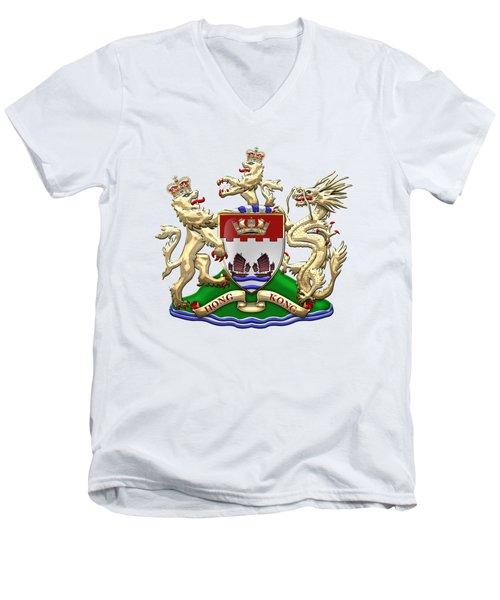 Hong Kong - 1959-1997 Coat Of Arms Over White Leather  Men's V-Neck T-Shirt
