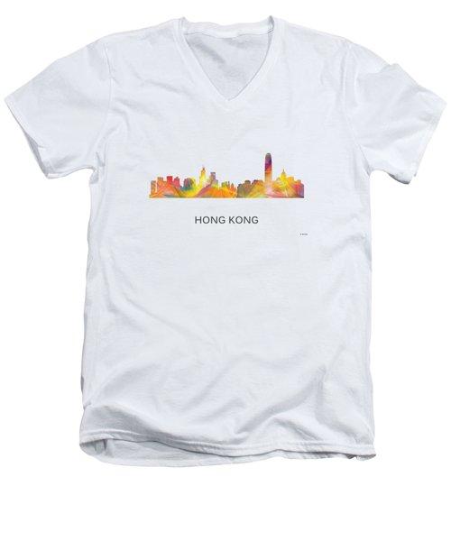 Hong Kong China Skyline Men's V-Neck T-Shirt by Marlene Watson