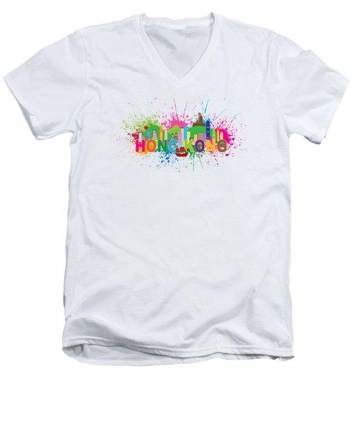 Hong Kong Skyline Paint Splatter Text Illustration Men's V-Neck T-Shirt