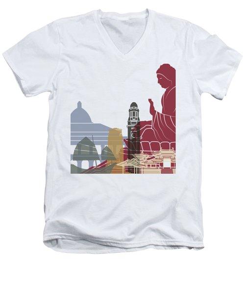 Hong Kong Skyline Poster Men's V-Neck T-Shirt