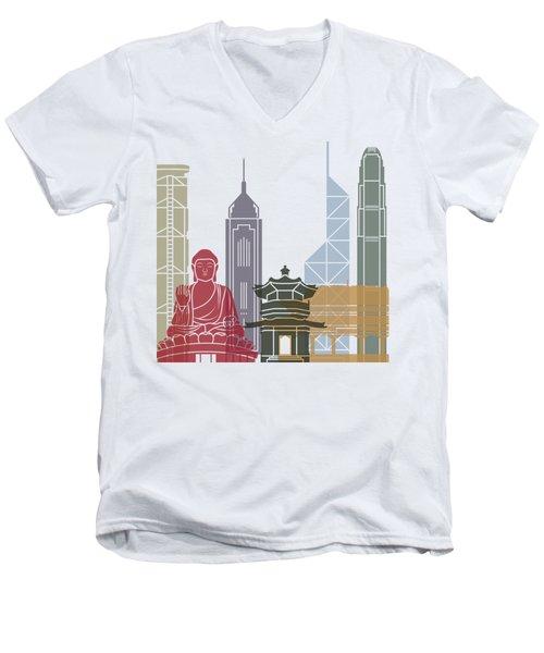 Hong Kong Skyline Poster_v2 Men's V-Neck T-Shirt by Pablo Romero