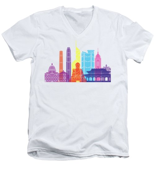 Hong Kong V2 Skyline Pop Men's V-Neck T-Shirt by Pablo Romero