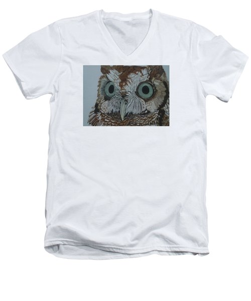 Hooty Who? - Screech Owl Detail Men's V-Neck T-Shirt by Anita Putman