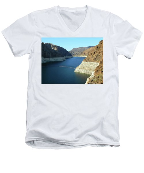 Men's V-Neck T-Shirt featuring the photograph Hoover Dam In May by Emmy Marie Vickers