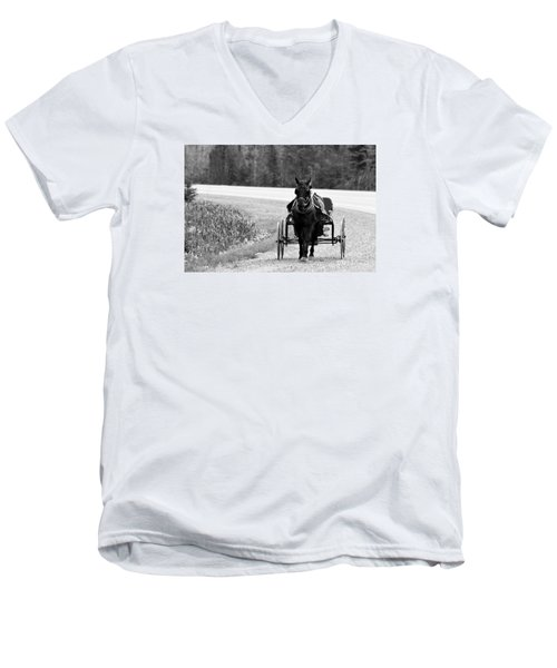 Horse And Buggy Men's V-Neck T-Shirt by Marjorie Imbeau
