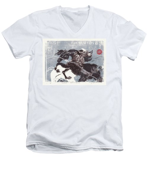 Horse And Red Sun Men's V-Neck T-Shirt by Mary Armstrong