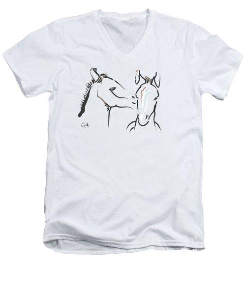 Horse-foals-together 6 Men's V-Neck T-Shirt