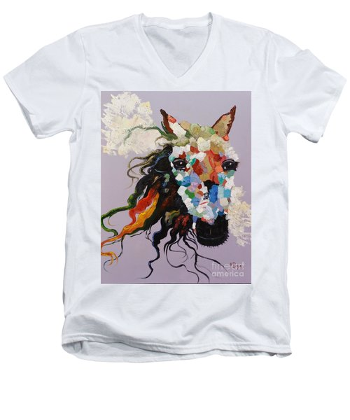 Men's V-Neck T-Shirt featuring the painting Puzzle Horse Head  by Rosario Piazza