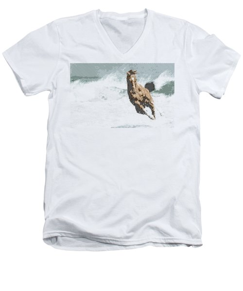 Horse In The Storm - Parallel Hatching Men's V-Neck T-Shirt