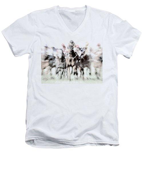 Horse Racing - Parallel Hatching Men's V-Neck T-Shirt