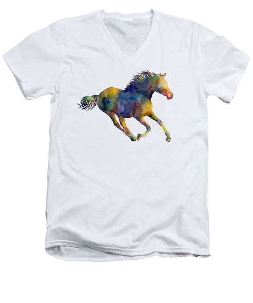 Men's V-Neck T-Shirt featuring the painting Horse Running by Hailey E Herrera