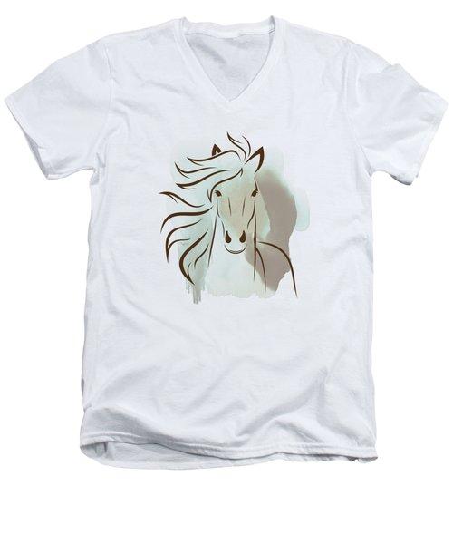 Horse Wall Art - Elegant Bright Pastel Color Animals Men's V-Neck T-Shirt by Wall Art Prints