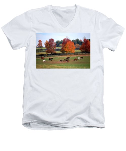 Men's V-Neck T-Shirt featuring the photograph Horses Grazing In The Fall by Sumoflam Photography