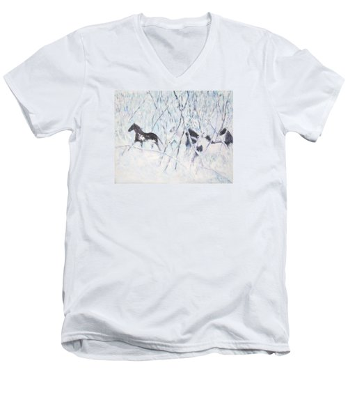 Horses Running In Ice And Snow Men's V-Neck T-Shirt