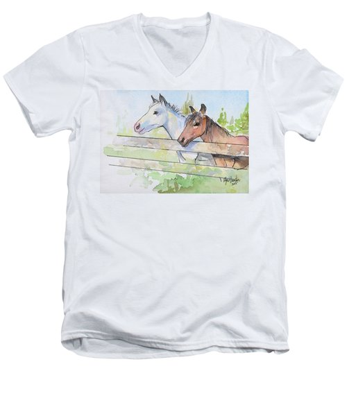 Horses Watercolor Sketch Men's V-Neck T-Shirt by Olga Shvartsur