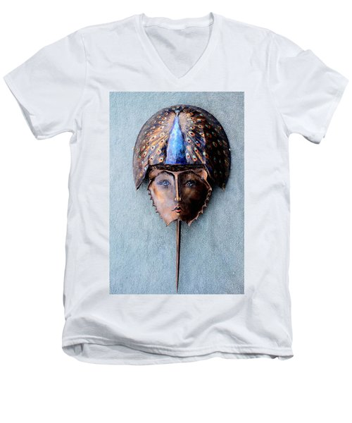 Horseshoe Crab Mask Peacock Helmet Men's V-Neck T-Shirt by Roger Swezey