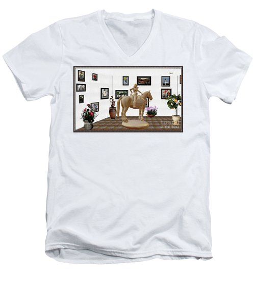 Virtual Exhibition -statue Of Horsewoman 12 Men's V-Neck T-Shirt by Pemaro
