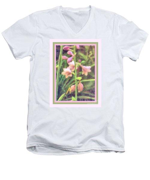 Hosta Bloom Pink Frame Men's V-Neck T-Shirt