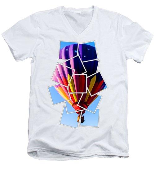 Hot Air Ballooning Tee Men's V-Neck T-Shirt by Edward Fielding