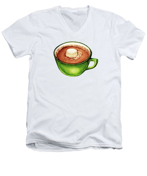 Hot Cocoa Pattern Men's V-Neck T-Shirt by Kelly Gilleran