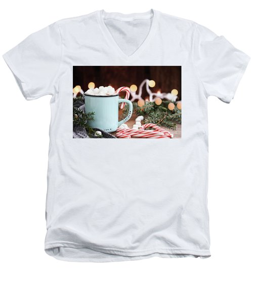 Hot Cocoa With Marshmallows And Candy Canes Men's V-Neck T-Shirt by Stephanie Frey
