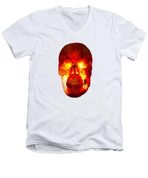Hot Headed Skull On Transparent Background Men's V-Neck T-Shirt