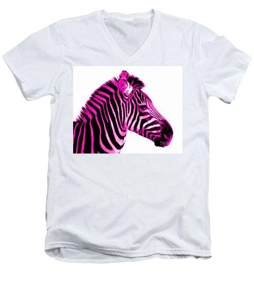 Hot Pink Zebra Men's V-Neck T-Shirt by Rebecca Margraf