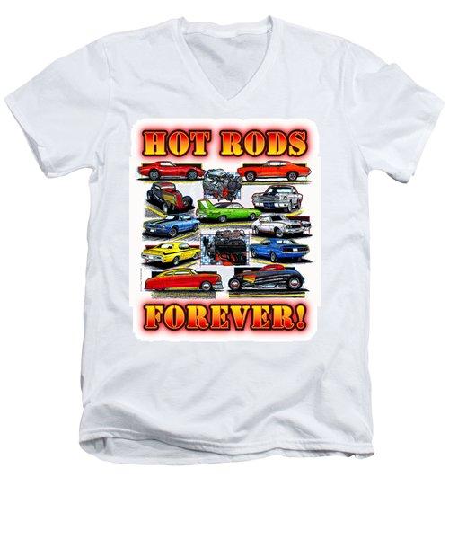 Hot Rods Forever Men's V-Neck T-Shirt
