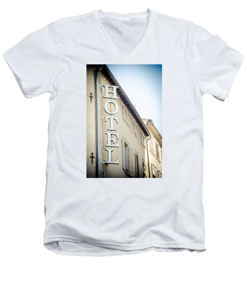 Men's V-Neck T-Shirt featuring the photograph Hotel by Jason Smith