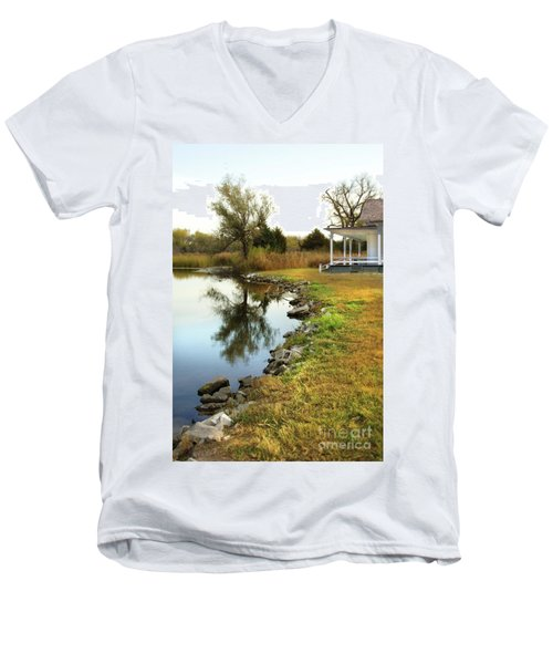 Men's V-Neck T-Shirt featuring the photograph House By The Edge Of The Lake by Jill Battaglia