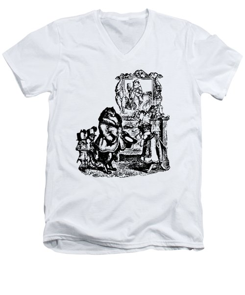 House Guest Cat Grandville Transparent Background Men's V-Neck T-Shirt