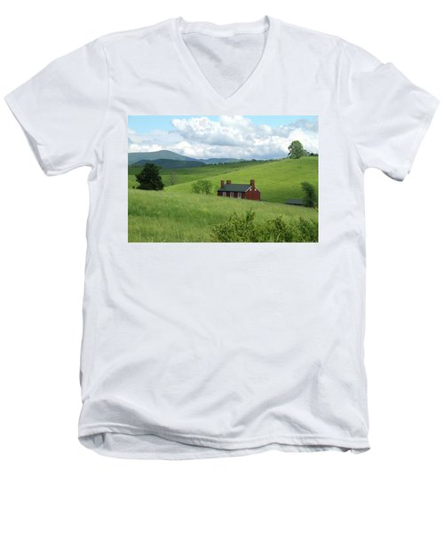 Men's V-Neck T-Shirt featuring the photograph House In The Hills by Emanuel Tanjala