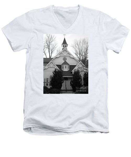 Men's V-Neck T-Shirt featuring the photograph House Of Prayer by Emmy Marie Vickers