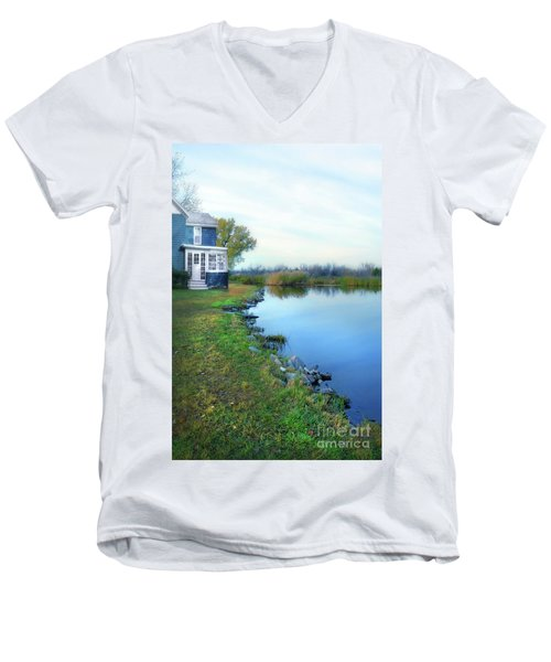 Men's V-Neck T-Shirt featuring the photograph House On A Lake by Jill Battaglia