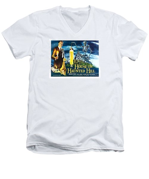 House On Haunted Hill Poster Classic Horror Movie  Men's V-Neck T-Shirt