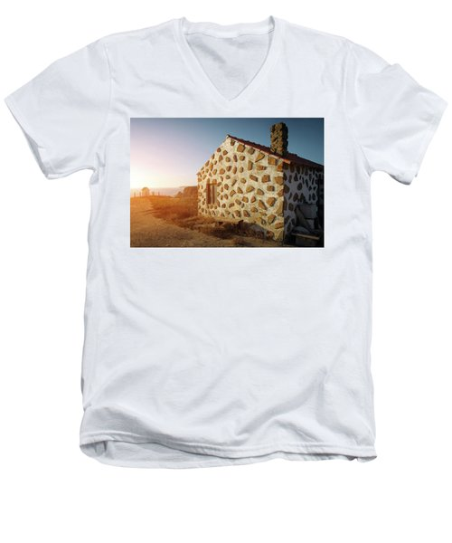 Men's V-Neck T-Shirt featuring the photograph House On The Cliff by Carlos Caetano