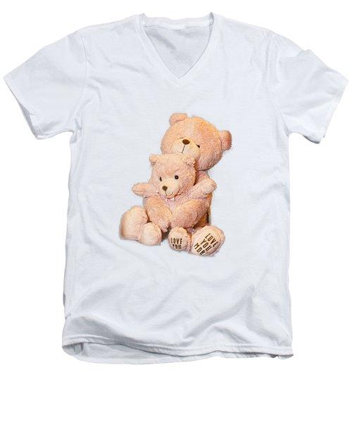 Hugging Bears Cut Out Men's V-Neck T-Shirt by Linda Phelps