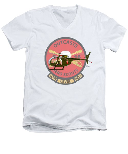 Men's V-Neck T-Shirt featuring the digital art Hughes Oh-6a Electric Olive II by Arthur Eggers