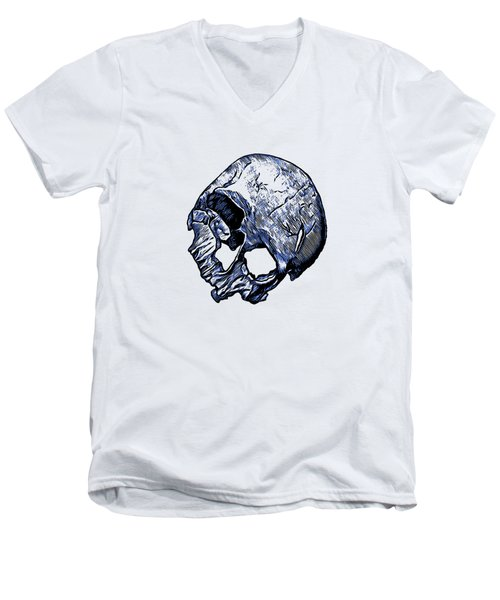 Human Skull Men's V-Neck T-Shirt by Tracey Harrington-Simpson