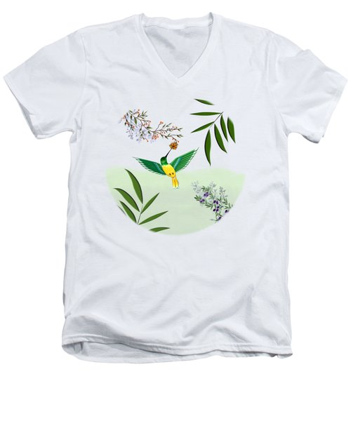 Humming Bird - Circle/clear Background Men's V-Neck T-Shirt