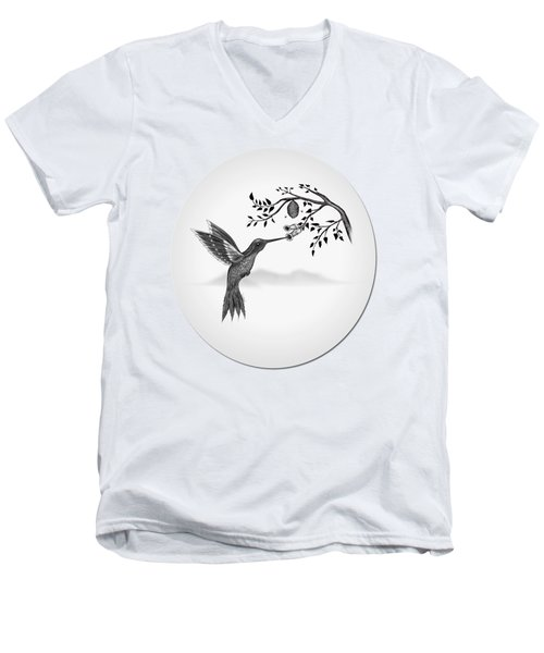 Hummingbird On Oval Men's V-Neck T-Shirt